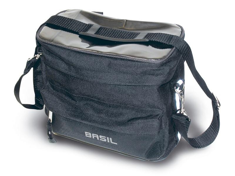 Torba na kierownicę z mapnikiem BASIL MALI HANDLEBAR BAG 8L, mocowanie na rzepy, wodoodporny poliester, czarna