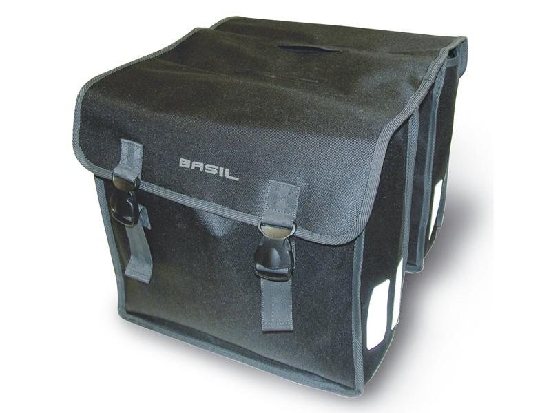 Sakwa miejska podwójna BASIL MARA XL 35L, mocowanie na paski, wodoodporny poliester, czarna