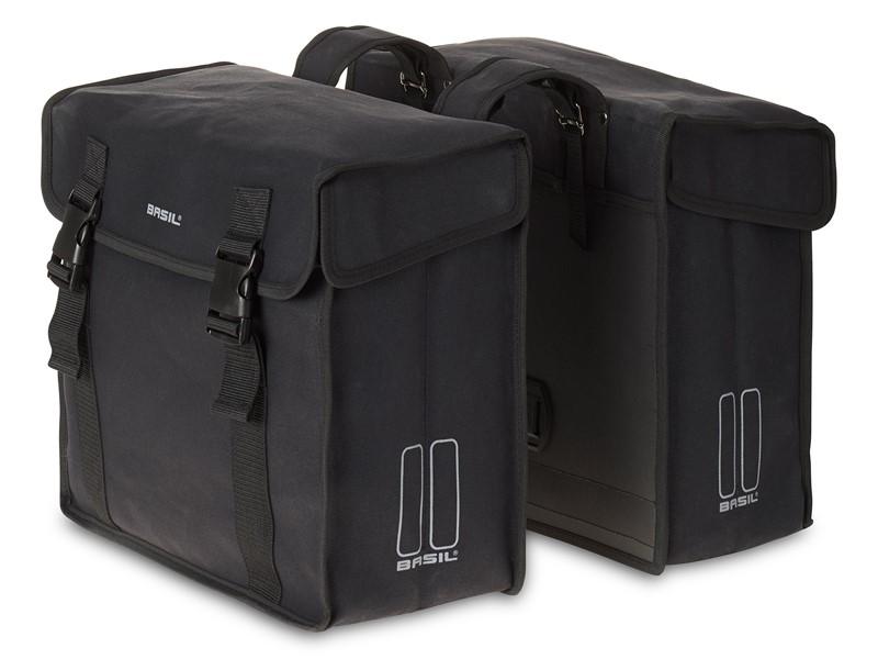 Sakwa miejska podwójna BASIL KAVAN DOUBLE BAG 45L, mocowanie na paski, wodoodporny brezent, czarna