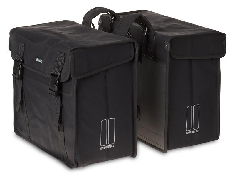 Sakwa miejska podwójna BASIL KAVAN XL DOUBLE BAG 65L, mocowanie na paski, wodoodporny brezent, czarna