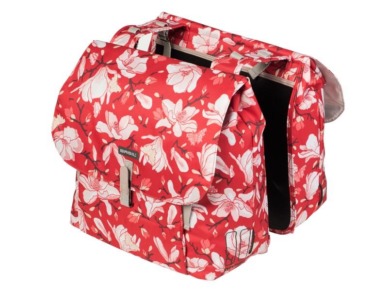Sakwa miejska podwójna BASIL MAGNOLIA DOUBLE BAG 35L, mocowanie na paski, wodoodporny poliester, poppy red (NEW)