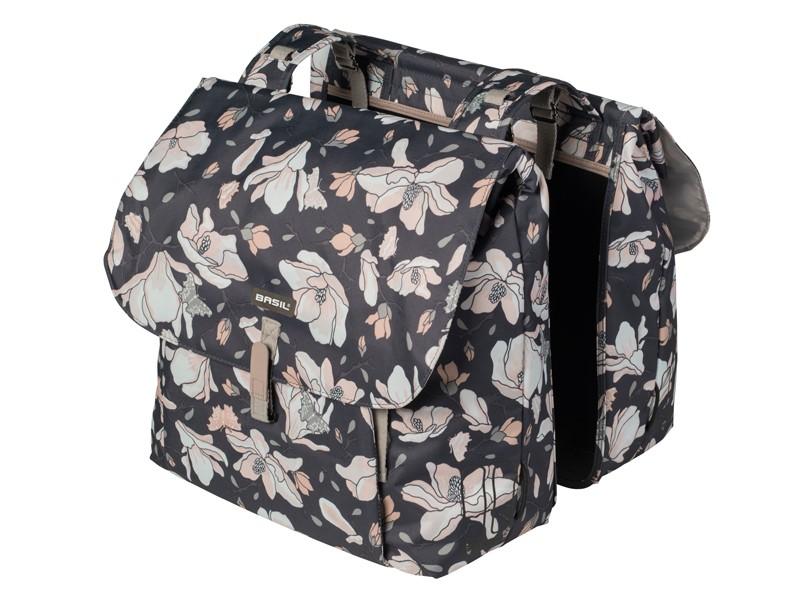 Sakwa miejska podwójna BASIL MAGNOLIA DOUBLE BAG 35L, mocowanie na paski, wodoodporny poliester, pastel powders (NEW)