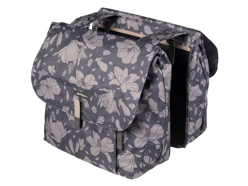 Sakwa miejska podwójna BASIL MAGNOLIA DOUBLE BAG 35L, mocowanie na paski, wodoodporny poliester, blackberry (NEW)