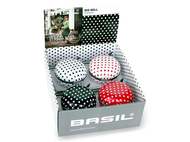 Dzwonek rowerowy BASIL BIG BELL POLKADOT 80mm, mix kolorów pudełko 4szt.