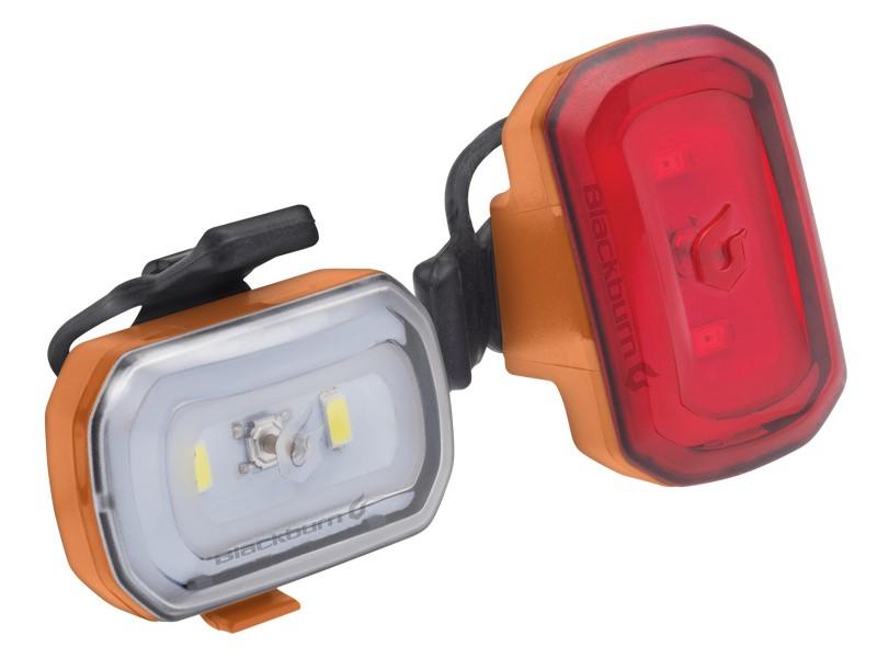 Zestaw lampki BLACKBURN CLICK USB przód 60l, CLICK USB tył 20l pomarańczowe