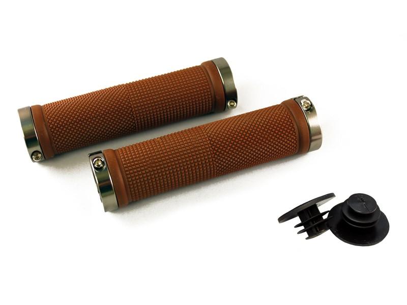 Chwyty kierownicy CLARK'S CLO201 LOCK-ON brązowe, klamry szare aluminiowe anodyzowane