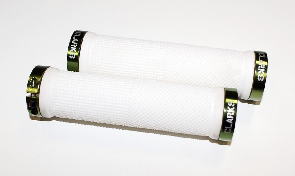 Chwyty kierownicy CLARK'S CLO201 LOCK-ON białe, klamry zielone aluminiowe anodyzowane