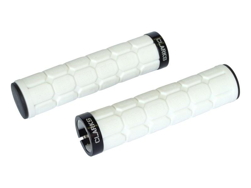 Chwyty kierownicy CLARK'S CLO219 LOCK-ON białe, 1 klamra czarna