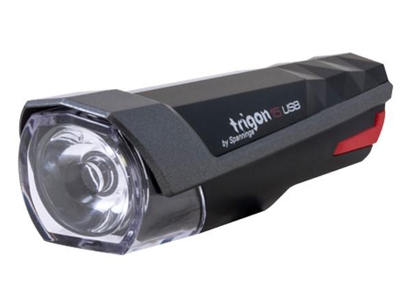 Lampka przednia SPANNINGA TRIGON 15 15 luxów/80 lumenów usb czarna