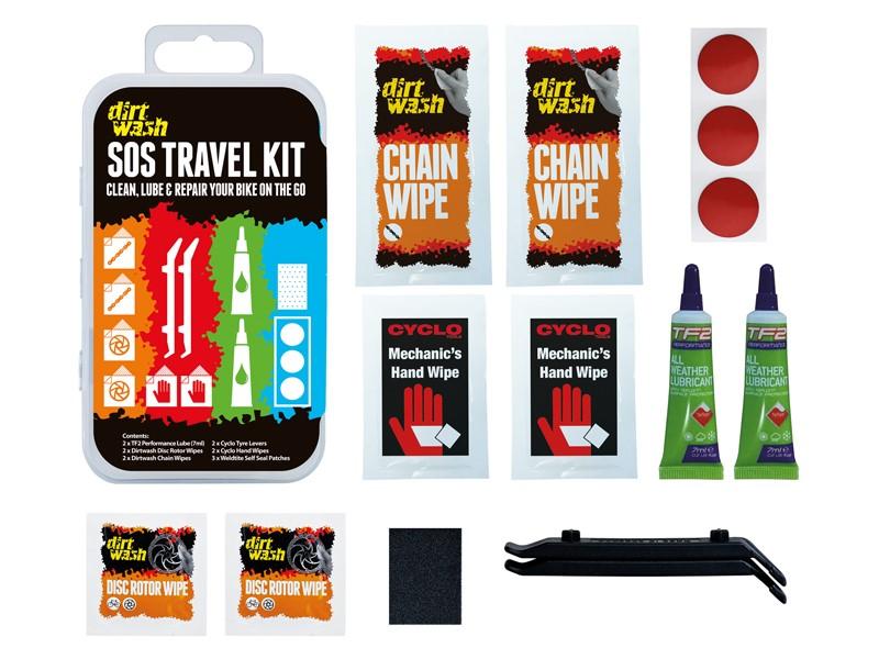 Zestaw czyszcząco-naprawczy WELDTITE DIRTWASH SOS TRAVEL KIT 3x łatki samoprzylepne + 2x łyżki + 2x oleje + chusteczki