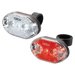 Zestaw lampki TORCH CYCLE LIGHT SET WHITE BRIGHT 9X + TAIL BRIGHT 9X (DWZ)